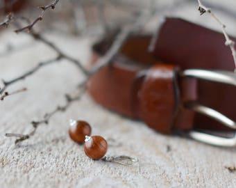 Brown wooden earrings 10mm silver earrings wood earrings silver jewelry wooden jewelry nature earrings botanical jewelry autumn jewelry boho