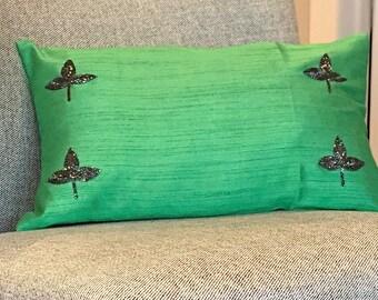 Silk cushion cover | Pink | Green decorative pillow - 12 X 21 inch