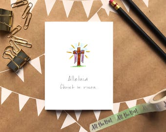 Easter Card/Alleluia/Christ is Risen/Wishing you Love and Blessings this Easter/A2 Greeting Card
