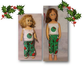 "1 Pajamas - Kittens in Stockings Christmas PJ's. Will fit  dolls like the 20"" Tall Vintage Chatty Cathy or her 24"" Tall big Sister Charmin."