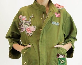 Women's Jacket. women's coat.Embroidered Jacket in Army Green