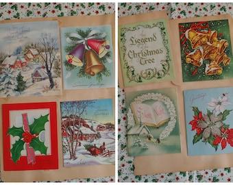Vintage Christmas Cards 1940-60s Greeting Cards Junk Journal Collage Art Journal DIY Cards Scrapbooking
