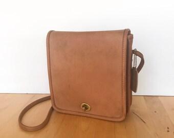 Vintage Coach Crossbody Bag, Coach Bag, Coach Compact Bag, Brown Coach Bag, Coach Purse, Leather Coach Bag, British Tan Coach Bag