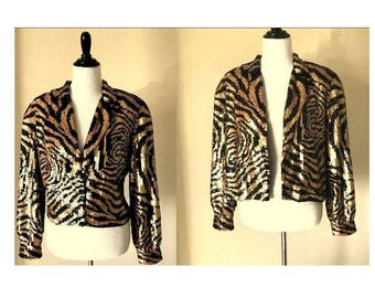 Vintage 1980's MODI Jacket Fully Sequined Zebra Striped Jacket Black Bronze Cropped Bolero Tiger Stripe Womens Medium