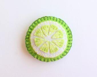 Play Felt Food Lime Slice Hand-Stitched, Pretend Play Food