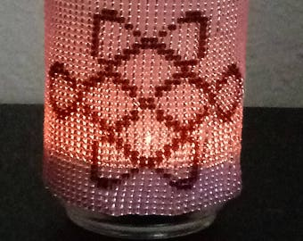 Celtic Beaded Candle Holder, Pink Candle Holder, Seed Bead Candle , Hand Made Candle Holder, Votive Candle Holder, Tea Light Candle Holder