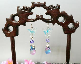 Blue Butterfly and Bicolor Czech Glass Silver Earrings