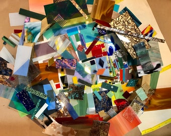 mosaic, tiles, Premium, STAINED, SCRAP, GLASS, 2 pounds, hand cut, Mix, Assorted colors, shapes, texture, best de-stash!
