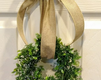 """8"""" Small Faux Boxwood Wreath, Farmhouse Wreath (wreath only, accessories not included)"""