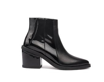 Black Leather Ankle Boots - Handmade Leather Boots - Black Boots - Point-toe Boots - Shiny Leather and Patent Leather Boot - Genuine Leather
