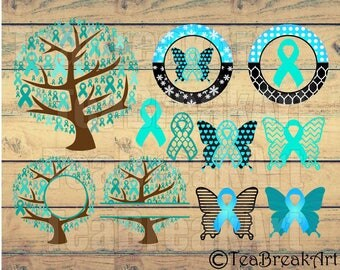 Cervical Cancer Ribbons SVG DXF jpg png Digital Cutting Files Digital ClipArt t-shirt iron on heat transfer decal ribbon with wings 063C