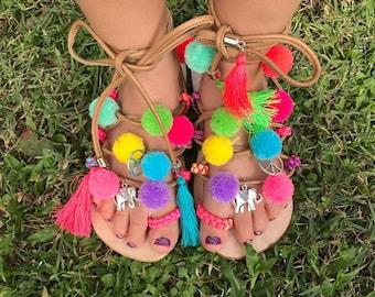 Girls Pom Pom Gladiator Sandals Bright Colorful summer sandals