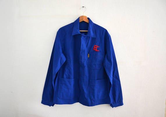 Vintage French Work Jacket / royal blue chore jacket / zip front pockets / size Médium Large SdDGD
