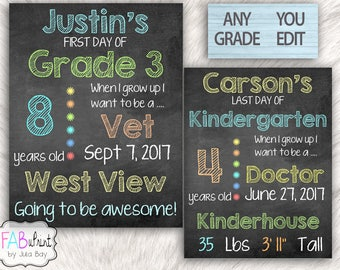 Editable Back to School Chalkboard, Reusable First Day of School Signs, Last Day of School Sign, Printable, School Photos, photo prop, DIY