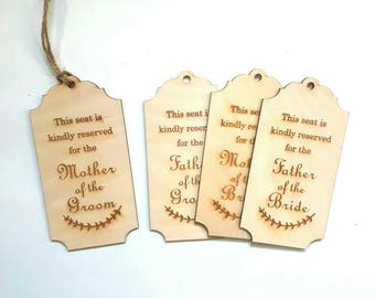 Wedding reserved sign from wood - reserved for mother father of bride and groom