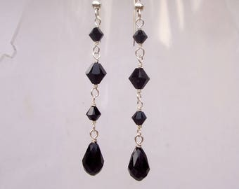 Long Black Swarovski crystal teardrop earrings Sterling Silver or Gold hooks leverbacks or studs