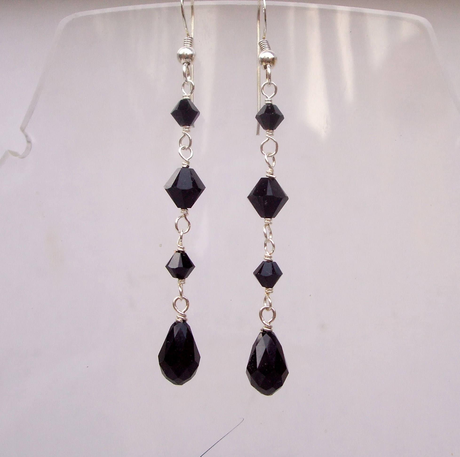 Long Black Swarovski Crystal Teardrop Earrings Sterling Silver Or Gold Hooks Leverbacks Studs