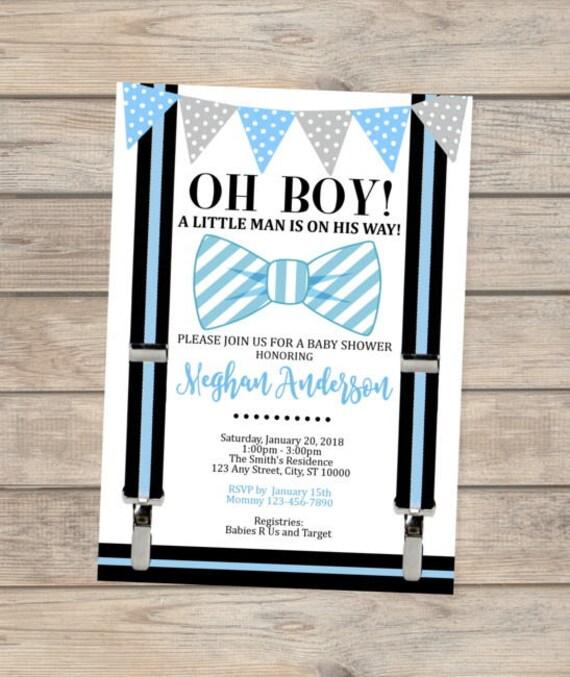 Blue Bow Tie Baby Shower Invitation Oh Boy Little Man Baby Shower