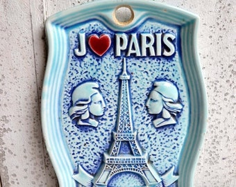 25% SALE Vintage Blue Plate Eiffel Tower Wall Hanging I Love Paris France French Souvenir Marianne I heart Paris