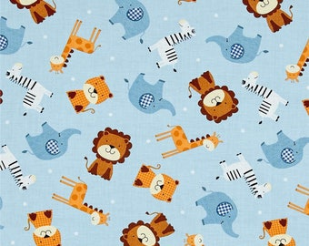 Noah's Ark Tossed Animals in Light Blue fabric from the Noah's Story Collection by Swizzle Stick Studio for Studio E Fabric #3662-11