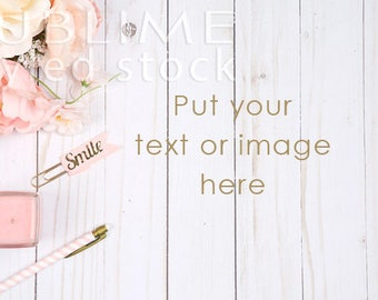 Styled Stock Photography / Styled Desktop / Digital Background / Wood Background / Flowers / Stock Photo / Image Background / StockStyle-847