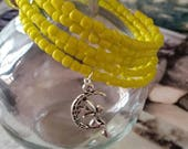 Beautiful charm bracelet summer yellow beads on memory wire gift idea