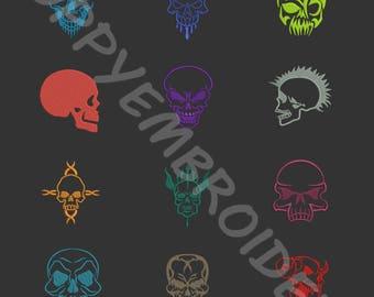 SKULL head biker Design for Embroidery machine / tete de mort motifs pour broderie machine / INSTANT DOWNLOAD