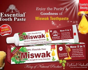 New 5 in 1 MISWAK ESSENTIAL TOOTHPASTE Strength & Cavity Protection 100% Fluoride Free Toothpaste + Free Shipping by King of Natural Product