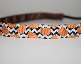 Halloween headband- pumpkin headband- pumpkin chevron headband- Halloween headband- pumpkin headband