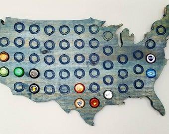 Beer Cap Map - Solid Hardwood - United States of America - Beer Cap Display - USA Beer Cap Map - Gift for Him -Beer Cap Holder-Beer cap maps