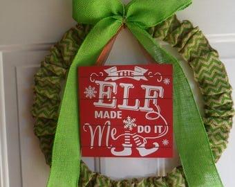 green chevron burlap wreath, elf sign, Christmas, elf wreath