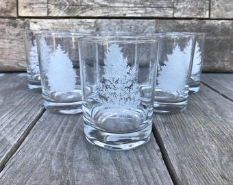 Frosted Tree Glasses Double Old Fashioned Lowball Glassware National Wildlife Federation