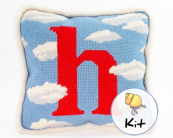 "Cloud Initial Needlepoint Pillow Kit, Small Tapestry Cushion Kit, Beginner Needlepoint kits, Baby pillow personalized, new baby decor, 8""x8"""