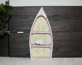Boat, rowboat, shelf, maritime, black-red-yellow-white, maritime shelf, fishing boat, Shabby Chic