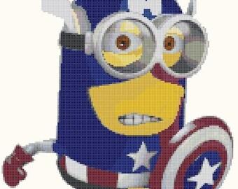 "minion captain america cross Stitch minion Pattern needlework needlepoint Kräiz Stitch korss  - 10.35"" x 11.43"" - L618"