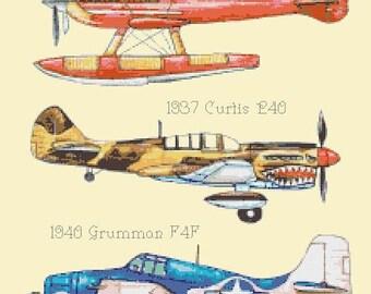 """aircrafts Cross Stitch pattern aircrafts pattern needlepoint point of croix aircrafts needlepoint - 14.14"""" x 16.50"""" - L006"""