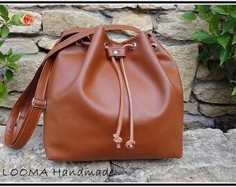 Small bucket bag brown leather, brown bucket bag