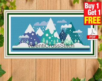 Little winter mountains Cross Stitch Pattern, Modern, Instant Download, Easy, Counted Cross Stitch, For Beginner, PDF, #sp 153