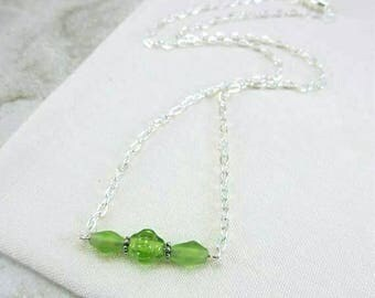 Minimalist Green Necklace, Dainty Green Necklace, Lime Green Necklace, Dainty Bar Necklace, Delicate Green Necklace, Gift for Daughter