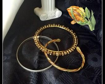 Vintage three metal bangle bracelets