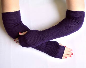 Handmade, knitted 100% cashmere arm warmers