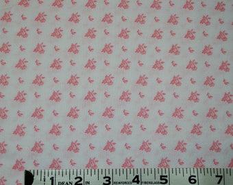 Item 238, 100% Cotton, Pink and White Fabric, Waverly, 1 2/3 Yard