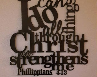 I can do all things through Christ who strengthens me sign, Phillippians 4:13, Metal Sign, Bible Verse Wall Art