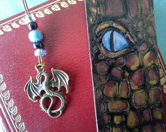 """Blue dragon eye"" leather bookmark"