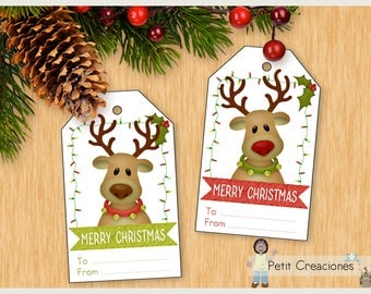SANTA'S REINDEER Christmas tags printable, DIY, christmas gift tags, gift idea , printable tags, printable gift tags