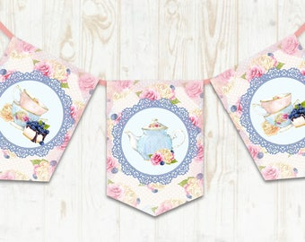 Shabby Chic Bunting, Tea Party Banner, Teapot, Tea Party Decoration, Shabby Chic Tea Party,