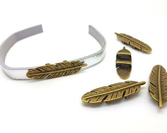 5 passers-by bronze feather for cord flat 10mm