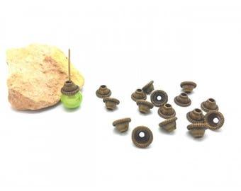 20 bead caps cones bronze 8x5mm