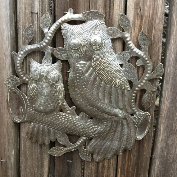 "Owls, Metal Wall Art, Handmade in Haiti, Steel Drum Decor 11"" x 11"""