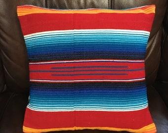"""18""""x18"""" Red and Blue Serape Blanket Pillow Cover"""